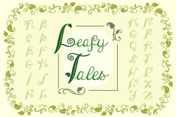 This is a collection of vintage fonts, alphabets and ornaments drawn in a simple yet fairy tale-like way These are perfect for children's books illustrations or other nature or faity tale- based designs.