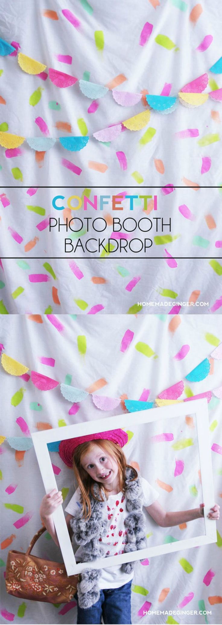 Make a quick photo booth backdrop using items you already have around the house. This is budget friendly and can be used again and again!