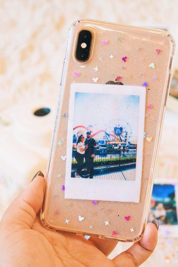 Customizable Polaroid Pictures Mickey Glitter Phone Case *PLEASE READ DESCRIPTION*