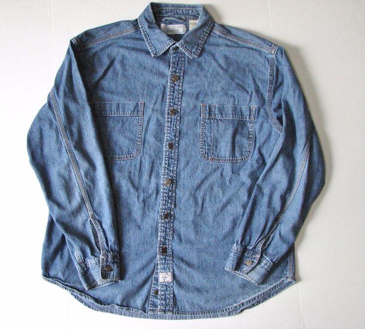 Levi Strauss Signature Long Sleeve Denim Jean Button Shirt Men's XL Cotton #Levis #ButtonFront