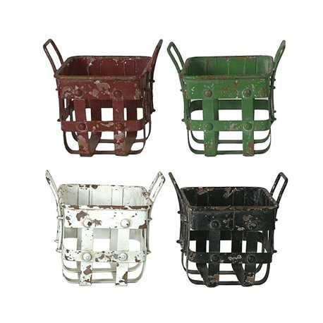 Our Rustic Metal Baskets come in your choice of four colors. These baskets are perfect for organizing small spaces in your home!