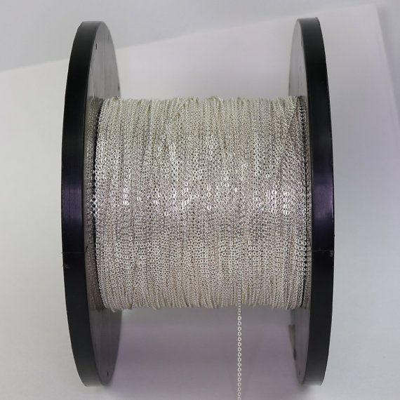 Chaîne en argent sterling par pied, 5 pieds - 1.0x1.3mm câble Micro chaîne, chaîne plate, chaîne de fabrication de bijoux 925 Sterling silver, vente en gros