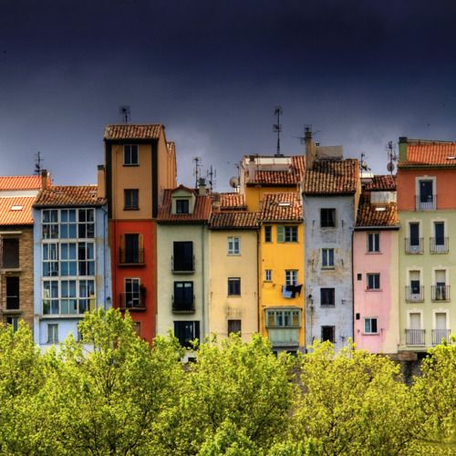 Pamplona, Spain - Colorful architecture, and colorful 'sport' in running of the bulls!