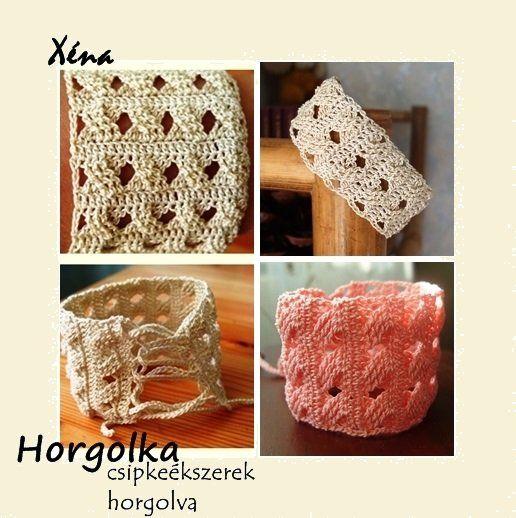 Xéna - rózsaszín horgolt karkötő