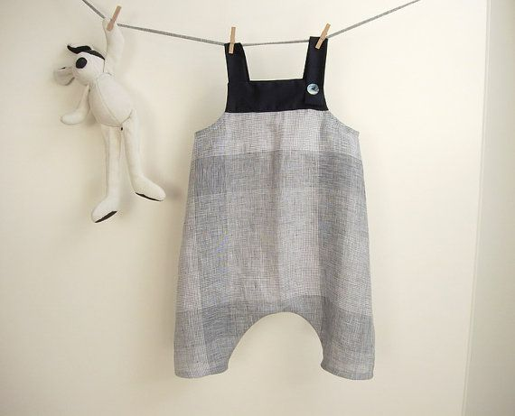 Reserved White And Blue Linen Overalls For Baby Boy And
