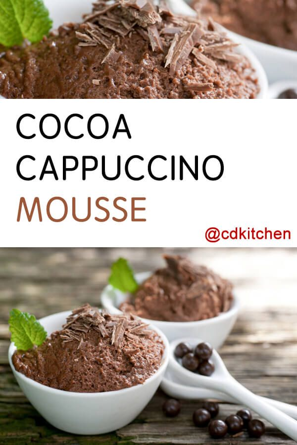 Cocoa Cappuccino Mousse - Recipe is made with whipping cream, water, sweetened condensed milk, cocoa powder, butter or margarine, powdered instant coffee or espresso | CDKitchen.com