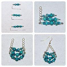 Orecchini fai da te facili da realizzare e di grande effetto, composti da perline di conteria, perle sferiche di colore turchese e catenelle metalliche