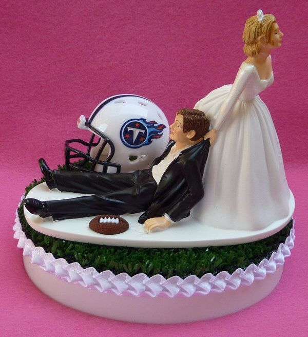 Wedding Cake Topper Tennessee Titans Football Themed Sports Turf Topper w/ Bridal Garter Humorous Unique Original Bride Groom Sports Fan Fun by WedSet on Etsy https://www.etsy.com/listing/155342626/wedding-cake-topper-tennessee-titans