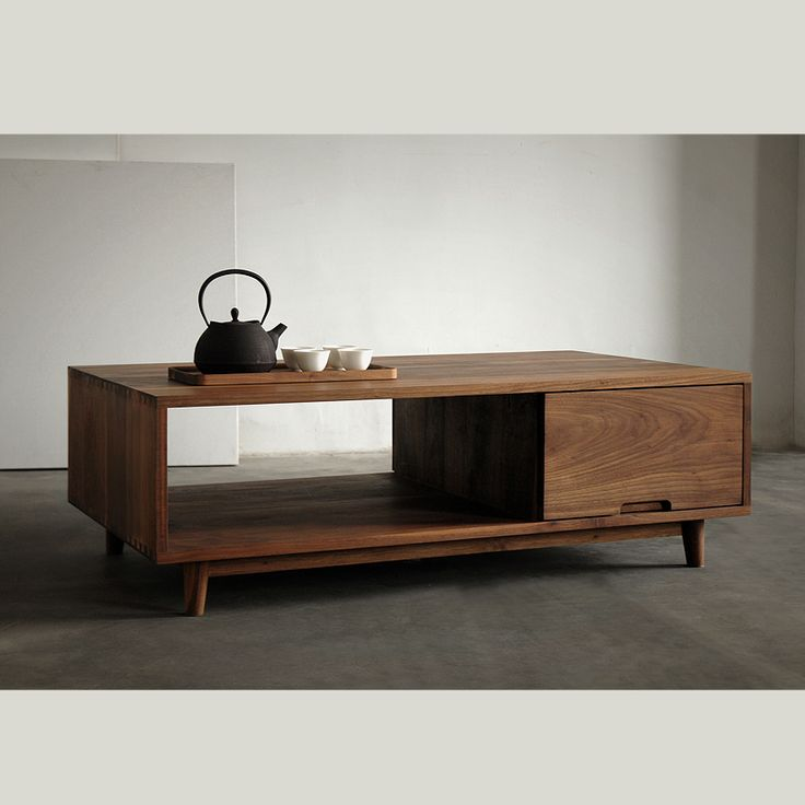 [Translation] wood black walnut wood furniture oak wood coffee table minimalist Nordic Chinese Japanese Muji