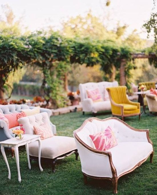 Ceremony Seating Alternatives: mismatched vintage loveseats and chairs
