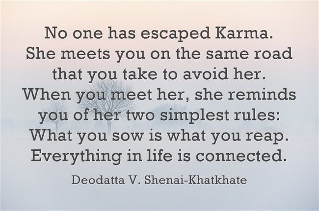 No one has escaped Karma. She meets you on the same road that you take to avoid her. When you meet her, she reminds you of her two simplest rules: What you sow is what you reap. Everything in life is connected.