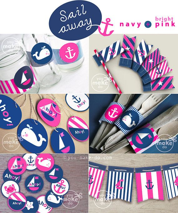 pink nautical party hot pink nautical baby shower by youmakedo, $15.00