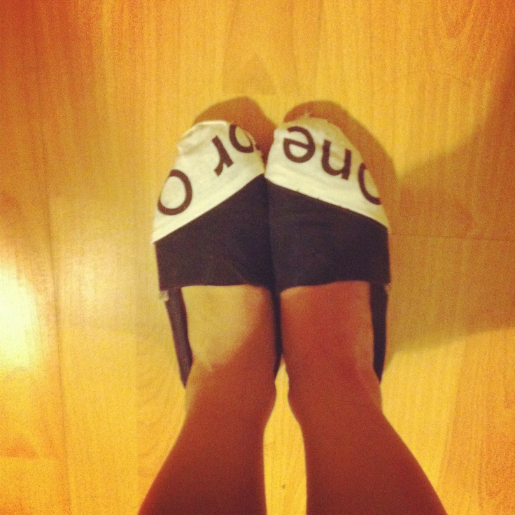 DIY TOMS repair!! I really love the print, since it's the TOMS motto and everything..