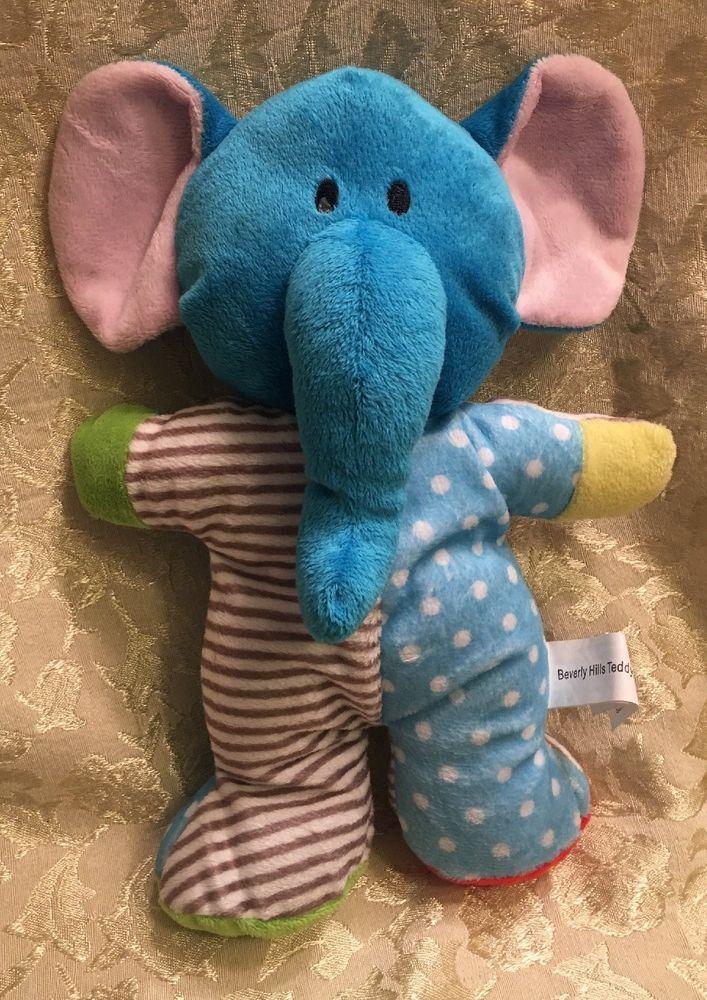 Rare Beverly Hills Teddy Bear Company Plush Rattle Elephant Blue Dot Stripe Ebay Elephant Blue Dot Elephant Plush