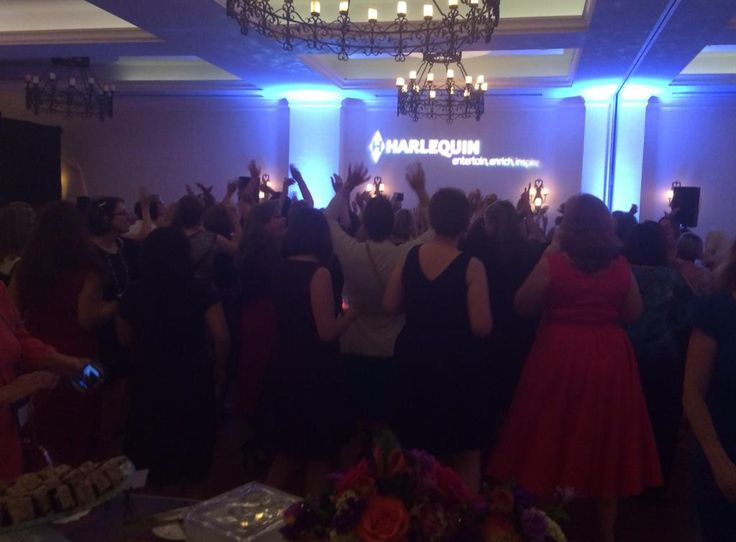 Embedded image permalink Want to know what a lot of @harlequinbooks authors dancing to It's Raining Men looks like? THIS!  #RWA14