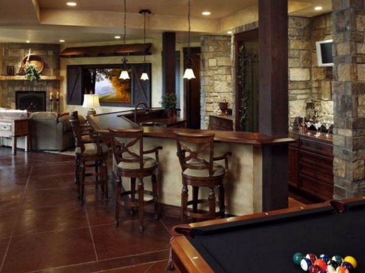 Decoration: Bar Ideas And Stone Wall Clad: Inspirational Home Bar Design  Ideas For Your