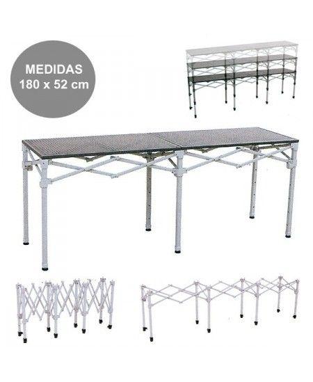 Mesa mostrador plegable para carpas plegables, con altura regulable mediante patas telescópicas. Medidas 180 x 52 cm.
