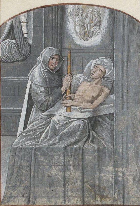 Bibliothèque nationale de France, Français 15216, detail of f. 125r. Le Pas de la mort fait par ame. 15th century.