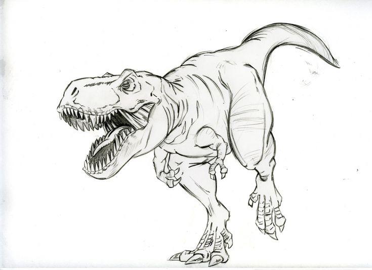 Картинки про динозавров простым карандашом