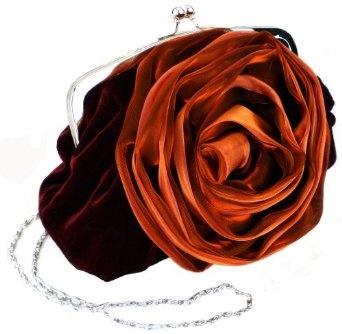 Romantic Rosette Rose Evening Handbag, Clasp Purse Clutch w/Hidden Chain $31.99