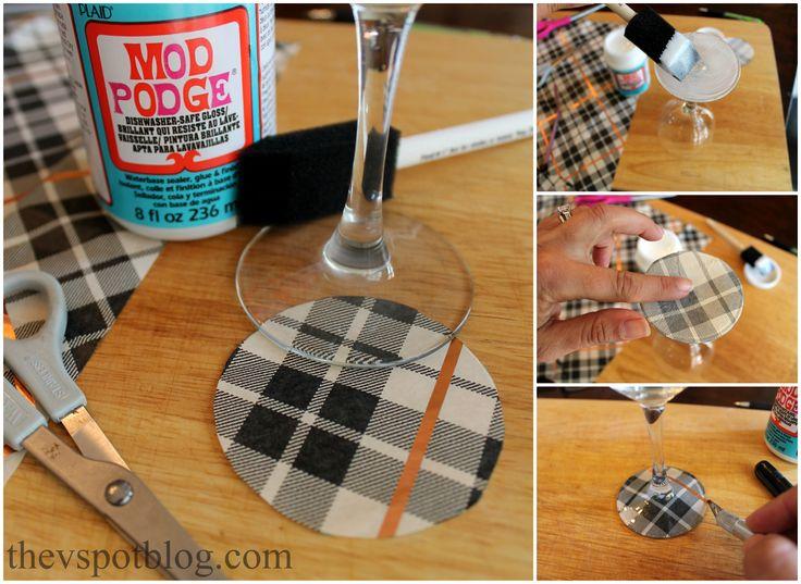How to make DIY plaid wine glasses