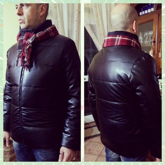 Men's Jacket Faux Leather, Goose feathers.... Tailored - Dressmaking