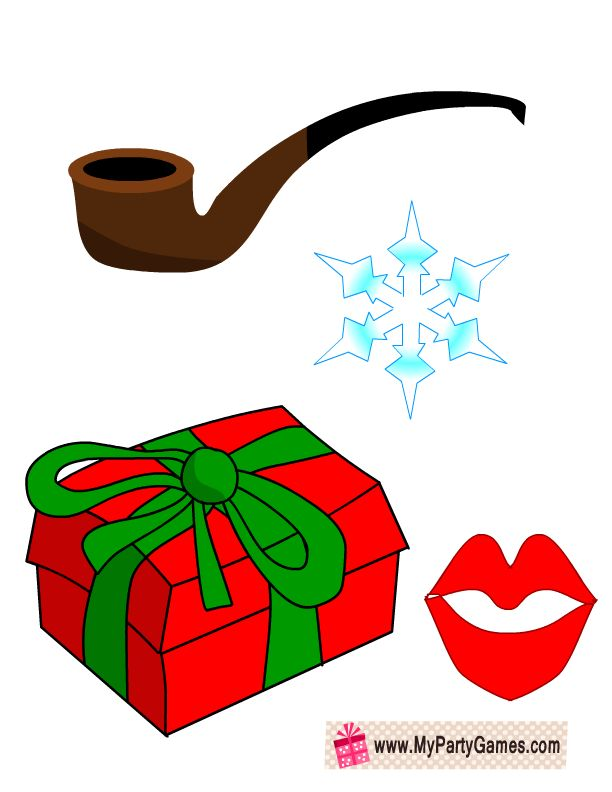 Free Printable Lips Snow Flake Pipe And Christmas Gift Props