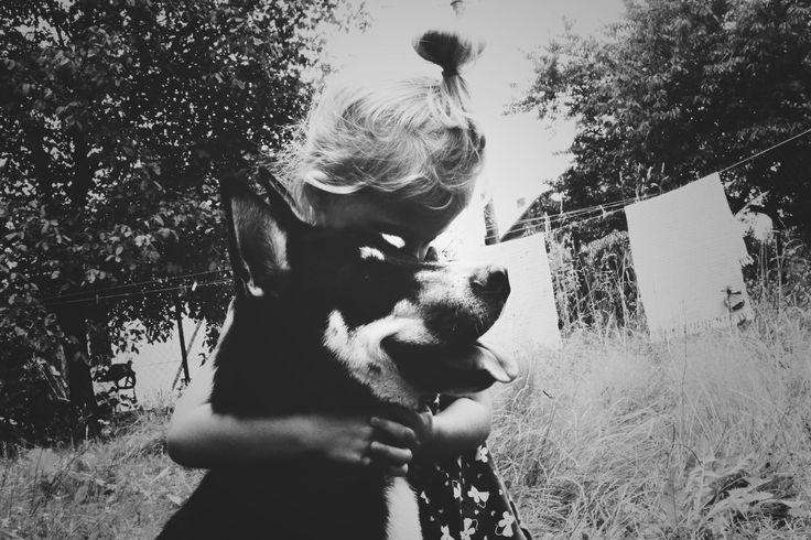 hugs! Kid & dog