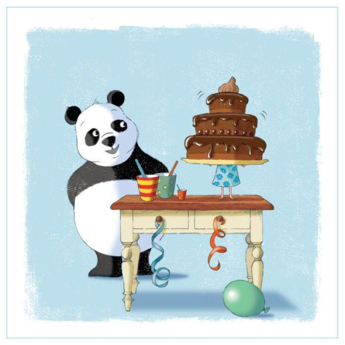 Mikki Butterley Bear And Cake Panda artwork, Art, Bear