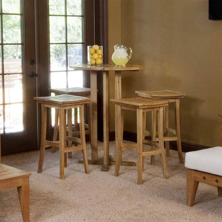 The Somerset Backless Teak Bistro Bar Set is convenient way to add an upscale, relaxed atmosphere to your living space. Major components of this set include Four Somerset Backless Bar Stools and a Somerset Bistro Bar Table. This teak cafe set has a micro-smooth finish to accentuate the amazing look of this premium grade, eco-friendly grade A teak from renewable plantations. Westminster's teak wood bar set is manufactured to a standard that is suitable for commercial or residential…