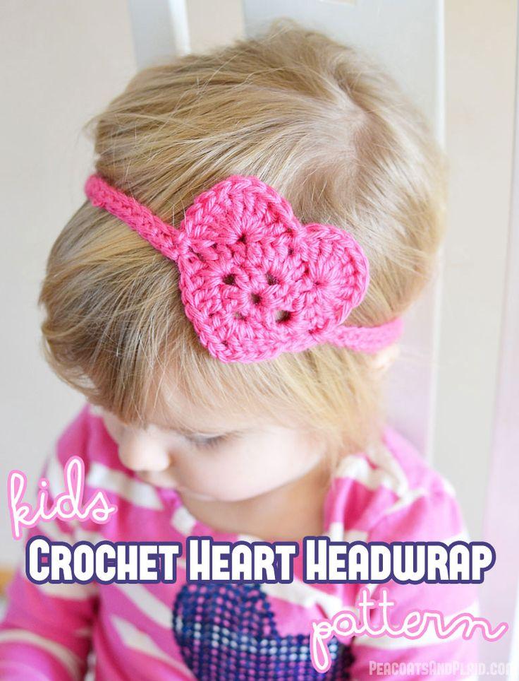 Free crochet pattern for this kids crochet heart headwrap/headband. Just in time