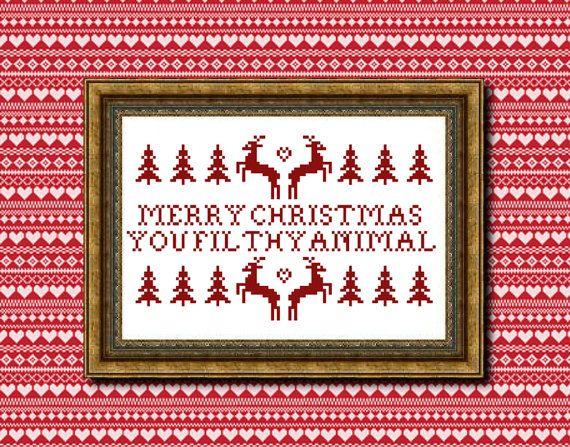 Merry Christmas You Filthy Animal cross stitch PDF pattern
