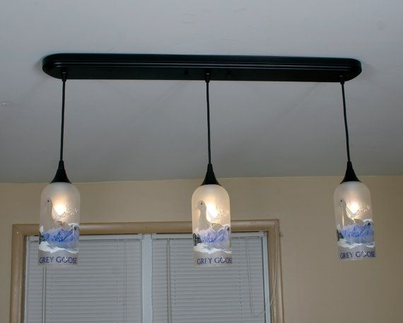 Upcycled Grey Goose Hanging Pendant Lamp made from by pic76, $279.95
