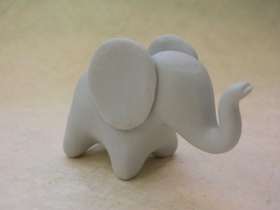 Lucky Baby Elephant fimo polymer clay figure by GraceAndFlowers