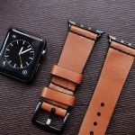 AWBF93-D60 Handmade Vintage Leather Strap  incl. Lugs Adapter for Apple Watch (or Apple Watch Sport) 42mm or 38mm | Black Forest