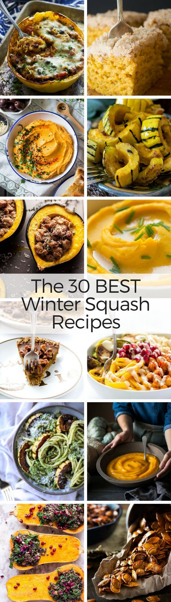 What to Eat Now: Winter Squash ~ there's a wonderland of winter squash out there, and it turns out the good eating goes goes way beyond pumpkin pie. So let's get all those gorgeous gourds out of the tacky fall displays and into our kitchens, where they belong ~ here are the 30 best winter squash recipes for butternut, acorn, kabocha, hubbard, pumpkin and more! #fall #squash #wintersquash #butternut #acorn #pumpkin #hubbard #delicata #spaghettisquash