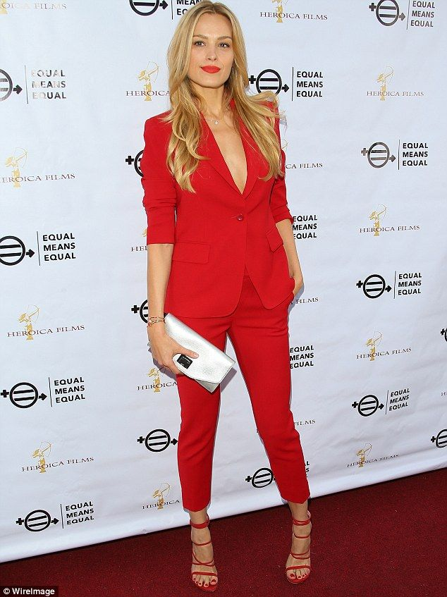 Red hot! Petra Nemcova, 37, looked incredible in matching fitted scarlet trousers and a chic blazer at the Equal Means Equal screening in Los Angeles on Friday