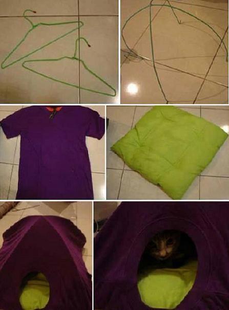 diy cat tent old t shirt hangers