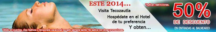 #Promoción en el Balneario La Cruz, en #Tecozautla, Hidalgo.  Visita Tecozautla, hospédate en el hotel que tu quieras y obtén el 50% de descuento en las entradas al balneario.  **Válido en puentes, días festivos, temporada vacacional, excepto semana santa. No aplica con otras promociones.