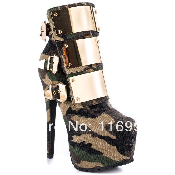 Barato 2014 novo sexy moda lona camuflagem curto botas botas mulheres salto alto bota grande tamanho 35   43, Compro Qualidade Botas - Feminino diretamente de fornecedores da China: