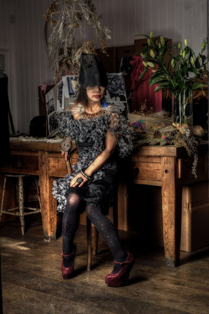 Photo by Ethan Lee hat by Noel Stewart Shoes by Natacha Marro with 80s vintage dress 2015 at 123 Brick Lane  East London