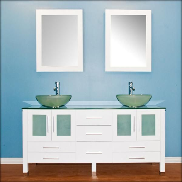 Photography Gallery Sites Cambridge Plumbing inch solid wood vanity with frosted glass counter top and two matching vessel sinks Two long stemmed Polished Chrome or Brushed