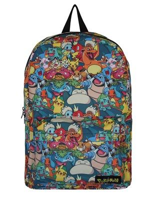 Get ya' backpack on, turn your cap back to front and travel the regions with your trusty Pokémon companions! This incredible bag is decorated with an all-over print including a variety of characters from the original 151 Pokémon . Official merchandise.