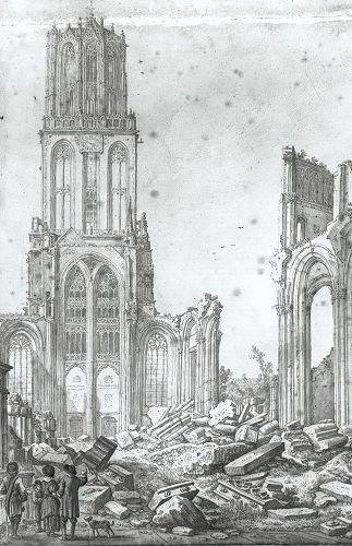 De Dom in puin na de tornado van 1 augustus 1674, tekening van Herman Saftleven. #collectievissen #storm