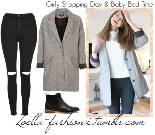 Girly Shopping Day & Baby Bed Time   February 28th, 2015Topshop Black Ripped Joni Jeans (no longer available)Topshop Black and White Boyfriend Coat (no longer available)ASOS Leather Chelsea Ankle BootsJeans also worn: here,and hereCoat also worn: here