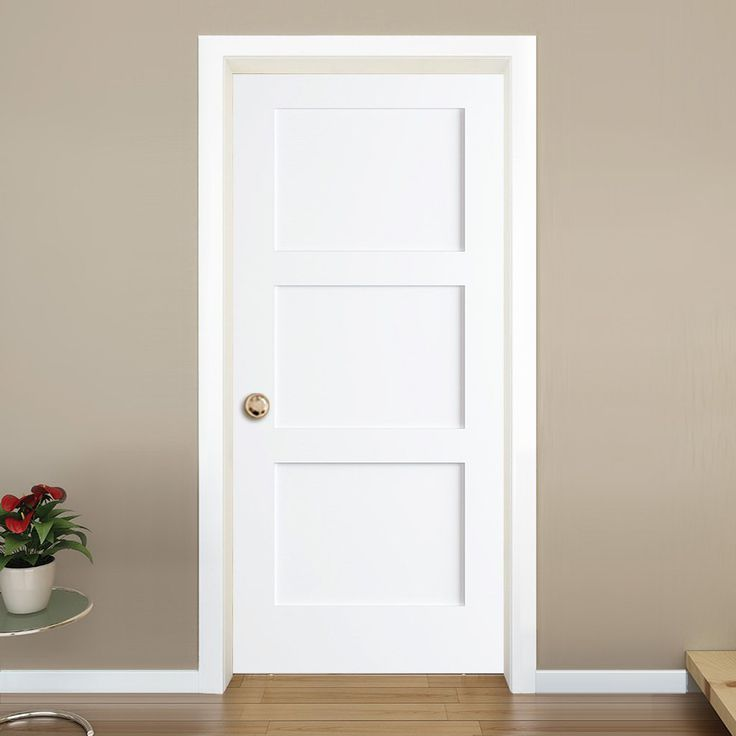 Shaker 3 Panel Solid Core White Interior Door Slab White Interior Doors Doors Interior Interior Door Styles