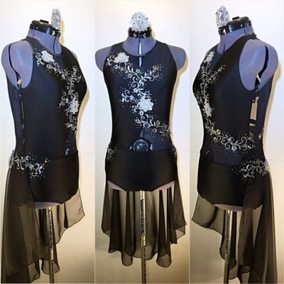 """Elegant Black One Piece Contemporary Dance Costume with Silver Applique and Half Skirt. - """"Creep"""""""