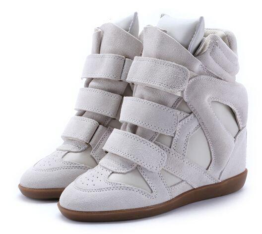 2014 Isabel Marant zapatillas de deporte de la cuña de las mujeres del cuero genuino de alta cima plataforma zapatos de moda casual botines grises