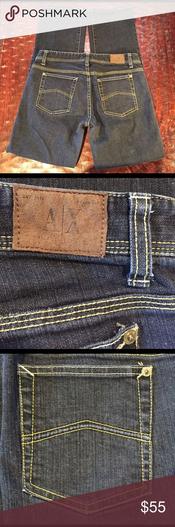 """A/X Armani Exchange Grey Jeans Size 8 Short A/X Armani Exchange Grey Jeans Size 8 Short. Jean has a Short 29"""" inseam. Jean is Grey with yellow stitching. Jean is in excellent condition with no signs of wear. Comes from a Smoke Free/Pet Friendly home. Offers always welcome. A/X Armani Exchange Jeans Boot Cut"""