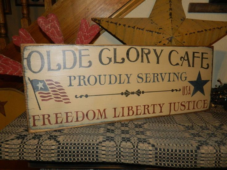 PRIMITIVE AMERICANA SIGN~~OLDE GLORY CAFE~~FLAG~PROUDLY SERVING~~JUSTICE~FREEDOM | Home & Garden, Home Décor, Plaques & Signs | eBay!